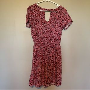 Floral Empire Waist Dress Keyhole Back Small Pink